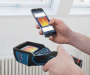Bosch GTC 400 C Professional und die Bosch Measuring Master App auf dem Handy
